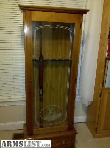 Easy Simple Ideas Wood Gun Cabinet With Etched Glass